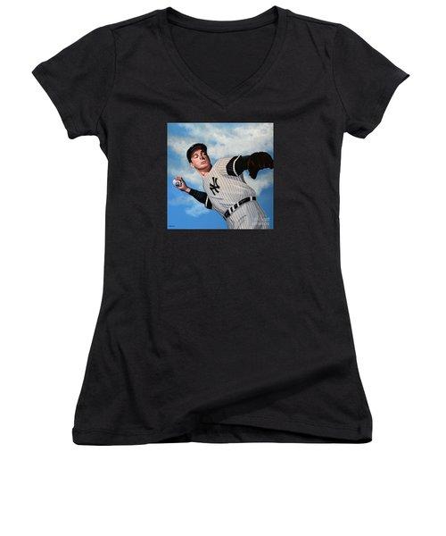 Joe Dimaggio Women's V-Neck T-Shirt (Junior Cut) by Paul Meijering