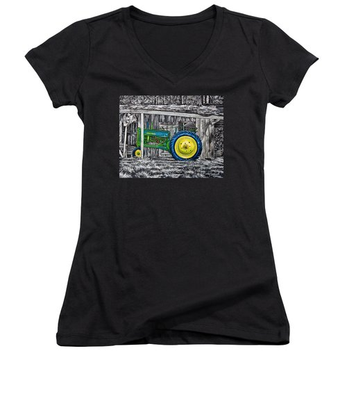 Women's V-Neck T-Shirt (Junior Cut) featuring the painting John Deere Green by Craig T Burgwardt