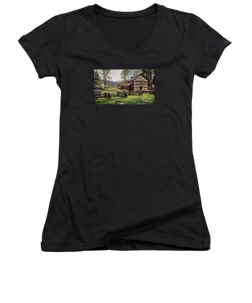 Women's V-Neck T-Shirt (Junior Cut) featuring the photograph John Oliver's Cabin In Spring. by Debbie Green