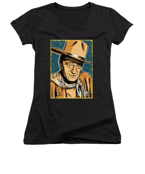 John Wayne Pop Art Women's V-Neck T-Shirt