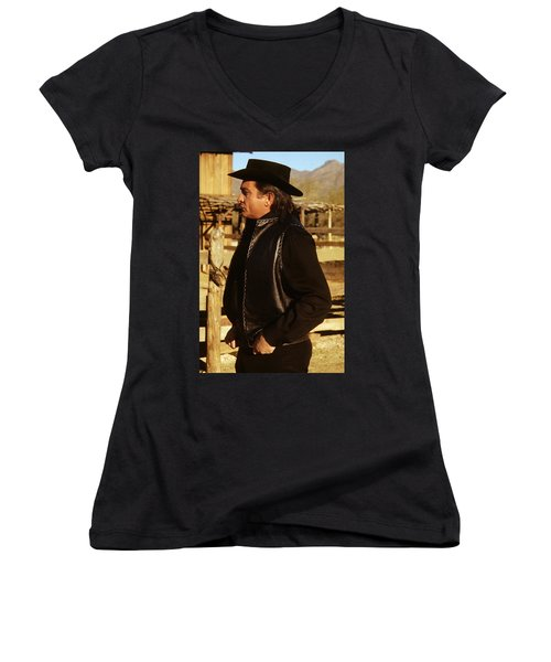 Women's V-Neck T-Shirt (Junior Cut) featuring the photograph Johnny Cash Golden Gate Peak Old Tucson Arizona 1971 by David Lee Guss