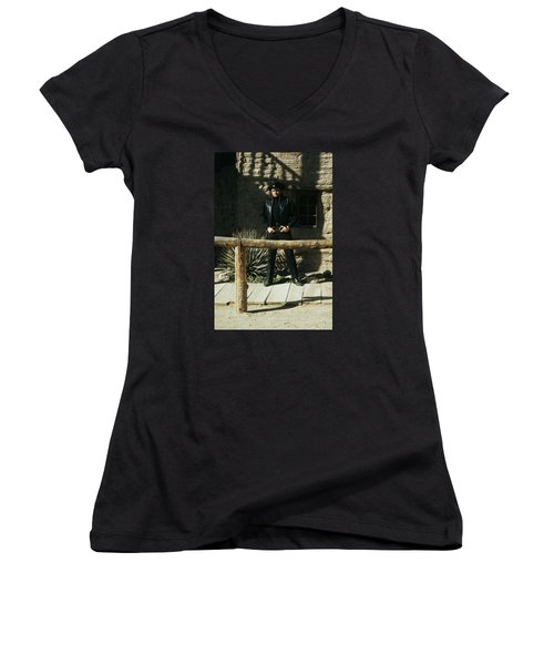 Women's V-Neck T-Shirt (Junior Cut) featuring the photograph Johnny Cash Gunfighter Hitching Post Old Tucson Arizona 1971 by David Lee Guss