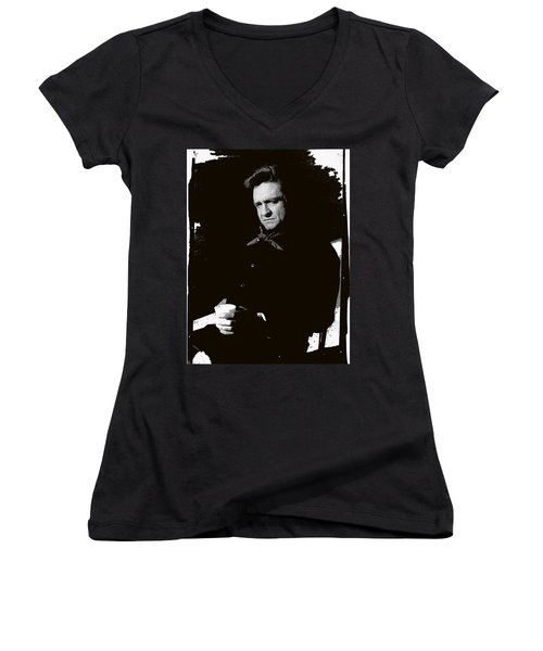 Women's V-Neck T-Shirt (Junior Cut) featuring the photograph Johnny Cash Sitting With Cup  Old Tucson Arizona 1971-2009 by David Lee Guss