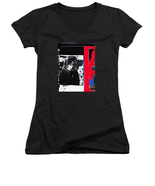 Women's V-Neck T-Shirt (Junior Cut) featuring the photograph Johnny Cash  Smiling Collage 1971-2008 by David Lee Guss
