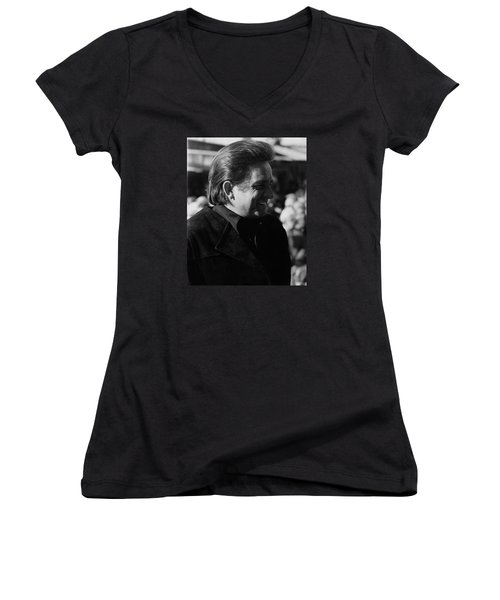 Women's V-Neck T-Shirt (Junior Cut) featuring the photograph Johnny Cash Smiling Old Tucson Arizona 1971 by David Lee Guss