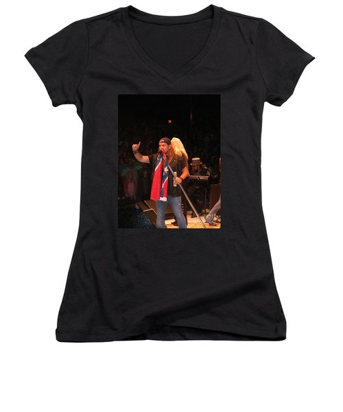 Johnny Van Zant Of Lynyrd Skynyrd Women's V-Neck (Athletic Fit)