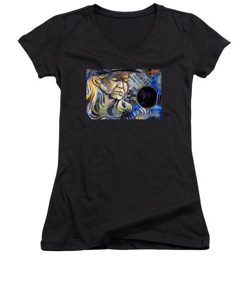 Johnny Winter Painted Guitar Women's V-Neck T-Shirt