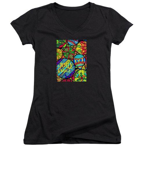 Women's V-Neck T-Shirt (Junior Cut) featuring the digital art Jolly Balls by Kathy Bassett