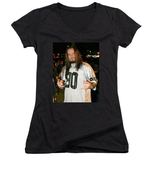 Women's V-Neck T-Shirt (Junior Cut) featuring the photograph Josey Scott by Don Olea