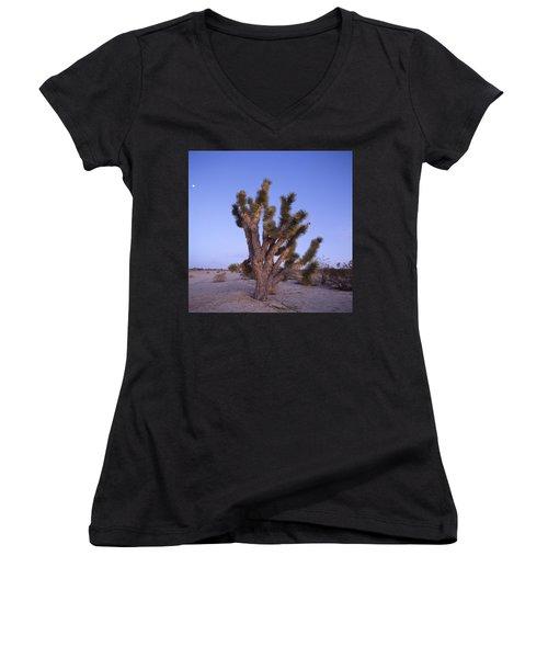 Solitude Of The Joshua Tree Women's V-Neck T-Shirt (Junior Cut) by Shaun Higson