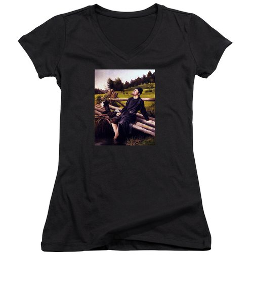 Women's V-Neck T-Shirt (Junior Cut) featuring the painting Joy Of Life by Mikhail Savchenko