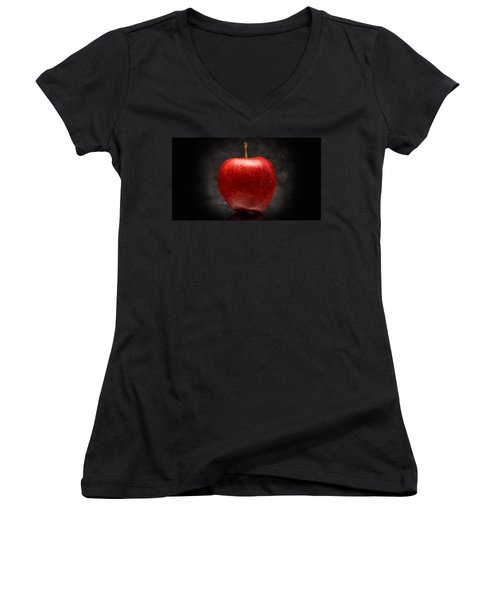 Aaron Berg Photography Women's V-Neck T-Shirt (Junior Cut) featuring the photograph Juicy Red Apple by Aaron Berg