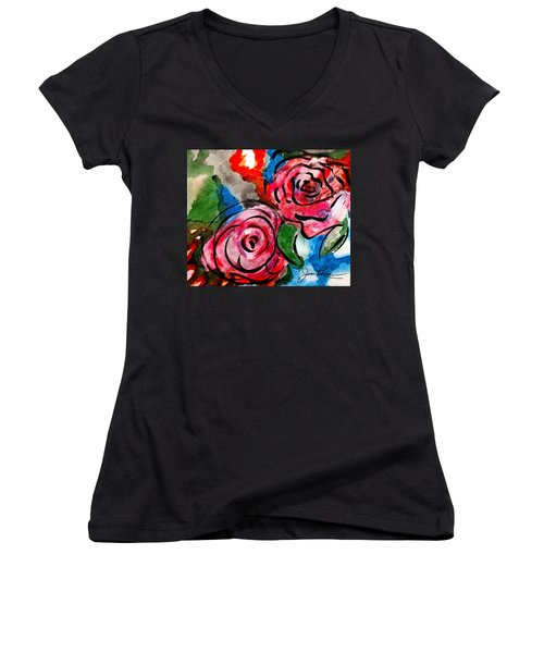 Juicy Red Roses Women's V-Neck T-Shirt (Junior Cut) by Joan Reese