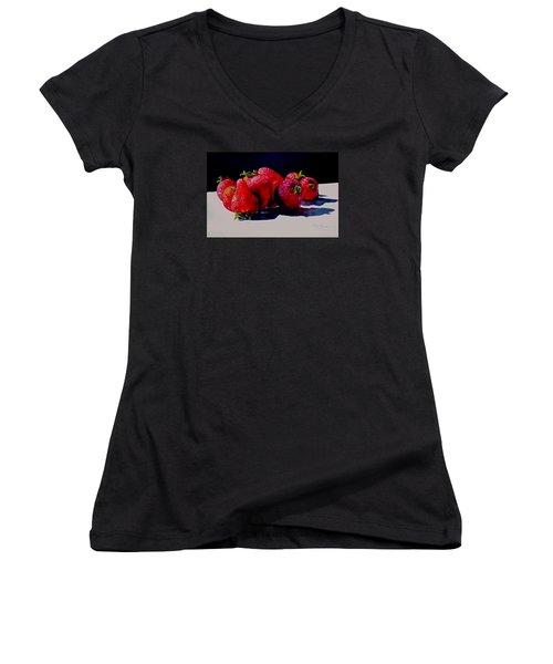 Juicy Strawberries Women's V-Neck T-Shirt (Junior Cut) by Sher Nasser
