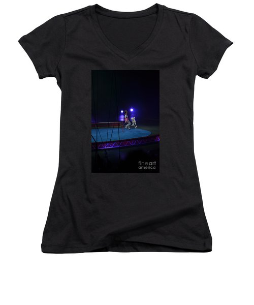 Women's V-Neck T-Shirt (Junior Cut) featuring the photograph Jumprope With Fido by Robert Meanor