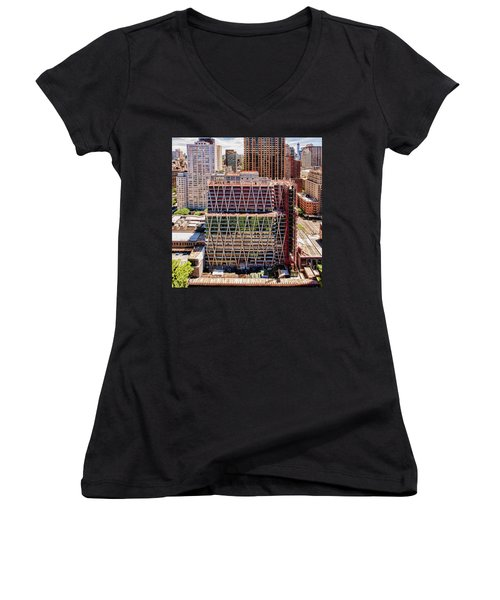 Jun2014rearwideabove Women's V-Neck T-Shirt (Junior Cut) by Steve Sahm