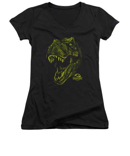 Jurassic Park - Rex Mount Women's V-Neck T-Shirt (Junior Cut)