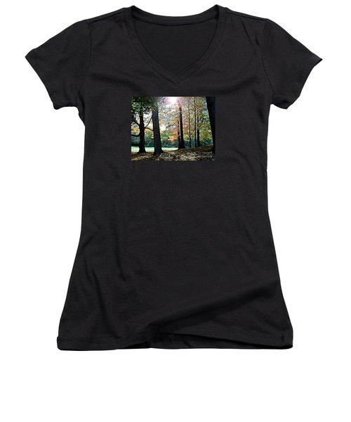 Just A Glimpse Of Sunlight Women's V-Neck T-Shirt (Junior Cut) by Rita Brown