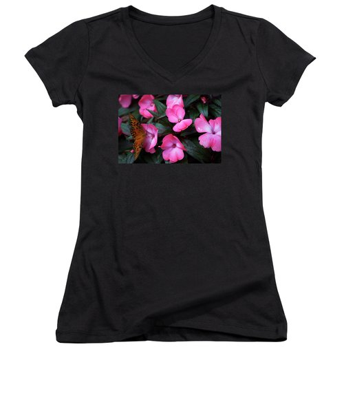 Women's V-Neck T-Shirt (Junior Cut) featuring the photograph Just A Small Taste For This Butterfly by Thomas Woolworth