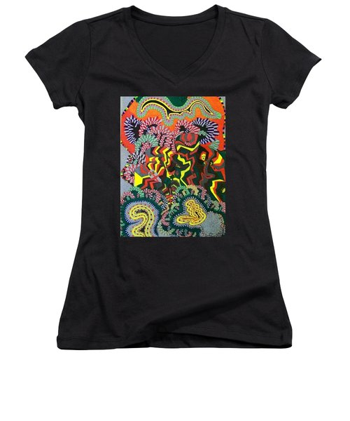 Women's V-Neck T-Shirt (Junior Cut) featuring the painting Just Look Two by Jonathon Hansen