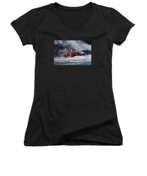 Lava Falls At Kalapana Women's V-Neck T-Shirt (Junior Cut) by Venetia Featherstone-Witty