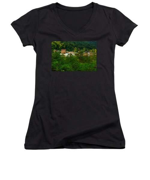 Kanawha Falls Women's V-Neck T-Shirt (Junior Cut) by Dave Files