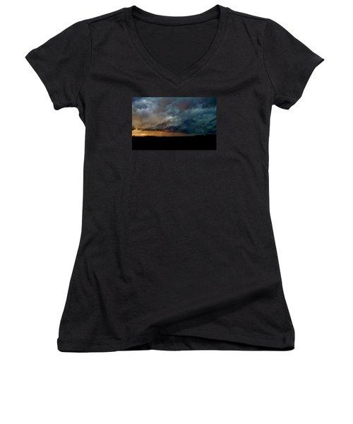 Women's V-Neck T-Shirt (Junior Cut) featuring the photograph Kansas Tornado At Sunset by Ed Sweeney