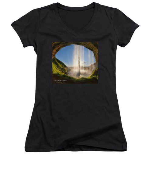 Women's V-Neck T-Shirt (Junior Cut) featuring the painting Karen's Waterfalls by Bruce Nutting