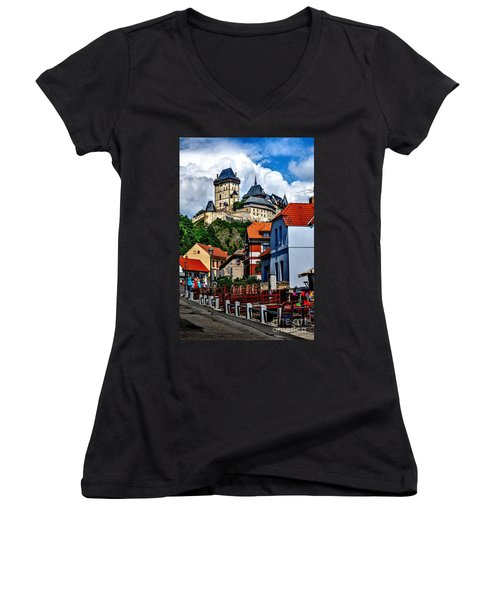 Karlstejn Castle In Prague  Women's V-Neck T-Shirt