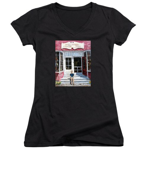 Women's V-Neck T-Shirt (Junior Cut) featuring the painting Katie At Bass Harbor Maine by Lee Piper