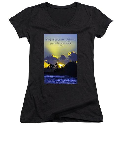 Kauai Sunset Psalm 36 5 Women's V-Neck T-Shirt