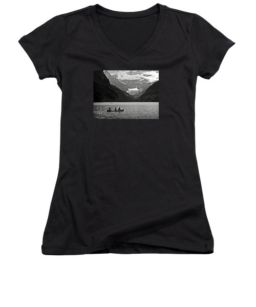 Kayak On Lake Louise Women's V-Neck T-Shirt (Junior Cut) by RicardMN Photography
