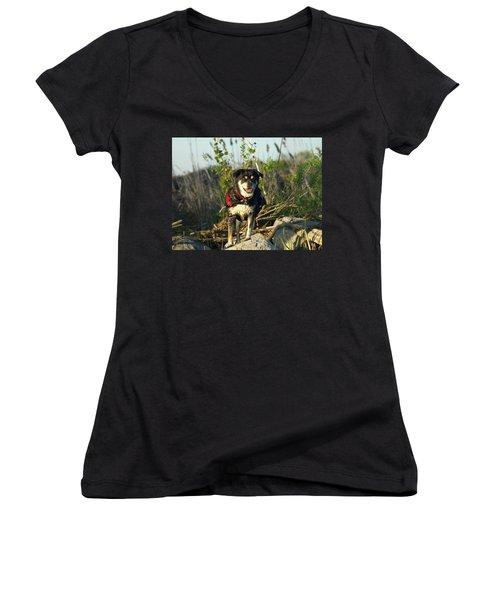 Women's V-Neck T-Shirt (Junior Cut) featuring the photograph Kayaker's Best Friend by James Peterson