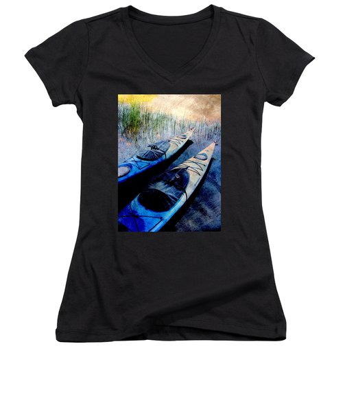 Kayaks Resting W Metal Women's V-Neck (Athletic Fit)
