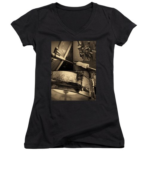 Keeping Time Women's V-Neck T-Shirt (Junior Cut) by Photographic Arts And Design Studio