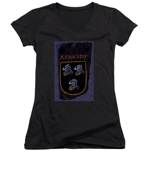 Women's V-Neck T-Shirt (Junior Cut) featuring the painting Kennedy Crest by Barbara McDevitt