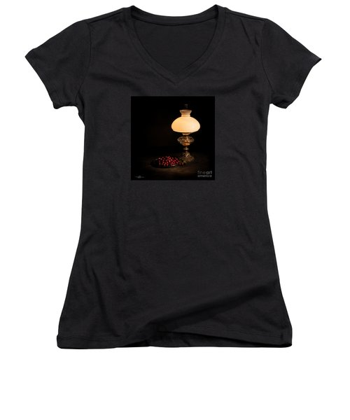 Kerosene Lamp Women's V-Neck T-Shirt (Junior Cut) by Torbjorn Swenelius