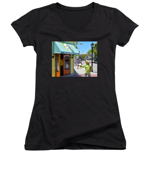 Key Lime Pie Man In Key West Women's V-Neck T-Shirt (Junior Cut) by Janette Boyd