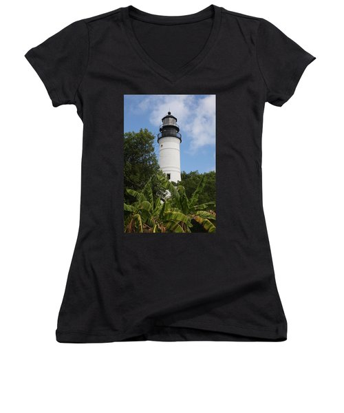 Women's V-Neck T-Shirt (Junior Cut) featuring the photograph Key West Lighthouse  by Christiane Schulze Art And Photography