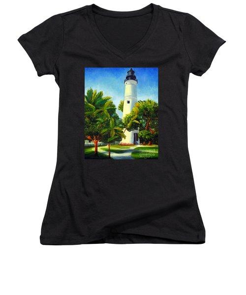 Key West Lighthouse Women's V-Neck T-Shirt (Junior Cut) by Shelia Kempf
