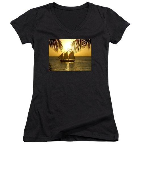 Women's V-Neck T-Shirt (Junior Cut) featuring the photograph Key West Sunset by Joan  Minchak