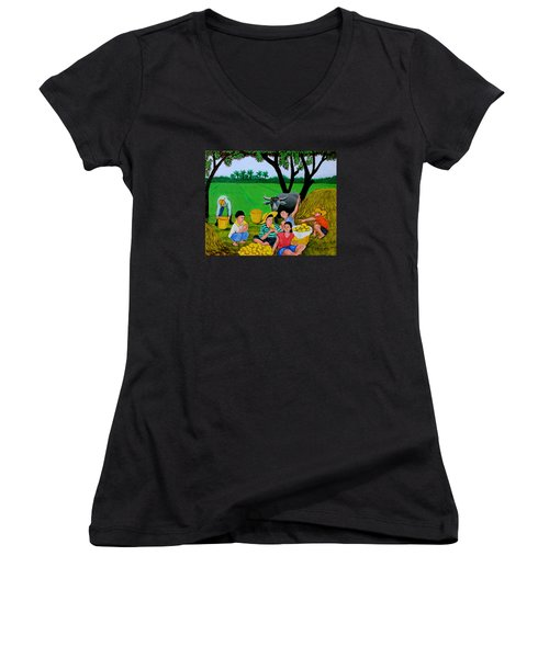 Women's V-Neck T-Shirt (Junior Cut) featuring the painting Kids Eating Mangoes by Cyril Maza