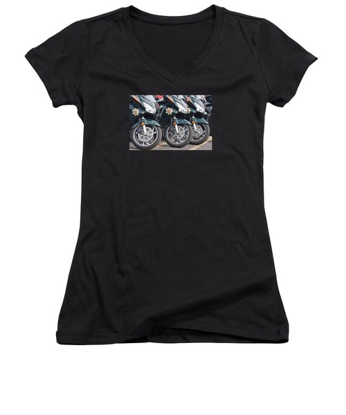 King County Police Motorcycle Women's V-Neck