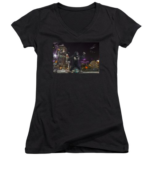 Women's V-Neck T-Shirt (Junior Cut) featuring the photograph King Kong On Jefferson St In Detroit by Nicholas  Grunas