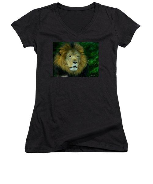 King Women's V-Neck T-Shirt (Junior Cut) by Maria Urso