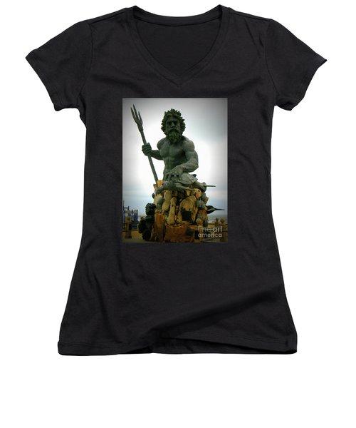 King Neptune Statue Women's V-Neck T-Shirt