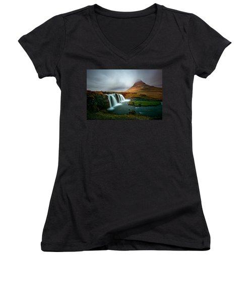 Kirkjufell Women's V-Neck T-Shirt (Junior Cut) by Ian Good