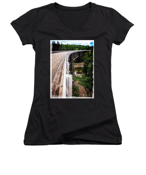 Women's V-Neck featuring the photograph Kiskatinaw Curved Wooden Bridge  by Roxy Hurtubise