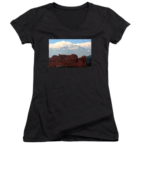 Kissing Camels Against Pikes Peak Women's V-Neck T-Shirt (Junior Cut) by Clarice  Lakota