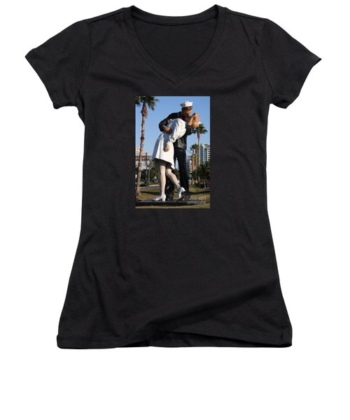 Women's V-Neck T-Shirt (Junior Cut) featuring the photograph Kissing Sailor - The Kiss - Sarasota by Christiane Schulze Art And Photography